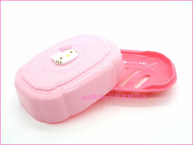 asdfkitty可愛家☆KITTY立體臉粉紅色有蓋肥皂盒/香皂盒/肥皂盤-有排水孔-也可放洗衣刷.菜瓜布-日本正版