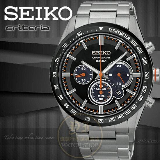 SEIKO 精工criteria巔峰再現太陽能計時腕錶V175~0DK0R SSC463P