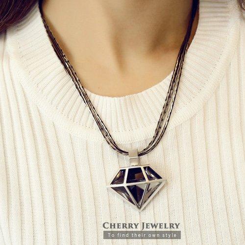 鑽石造型項鍊10252【櫻桃飾品】【10252】