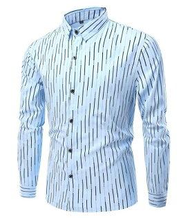 FINDSENSEZ1日系流行男時尚大碼翻領豎條紋長袖襯衫長袖T恤上衣