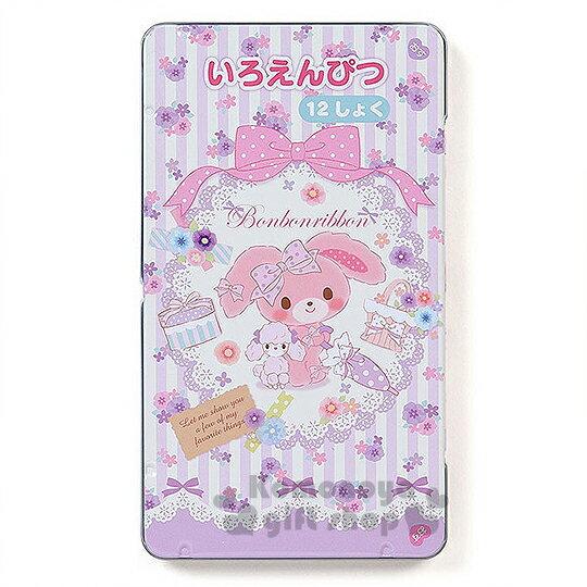 〔小禮堂〕蹦蹦兔 日製盒裝12色鉛筆《紫條紋.花朵.陽傘》日本三菱文具