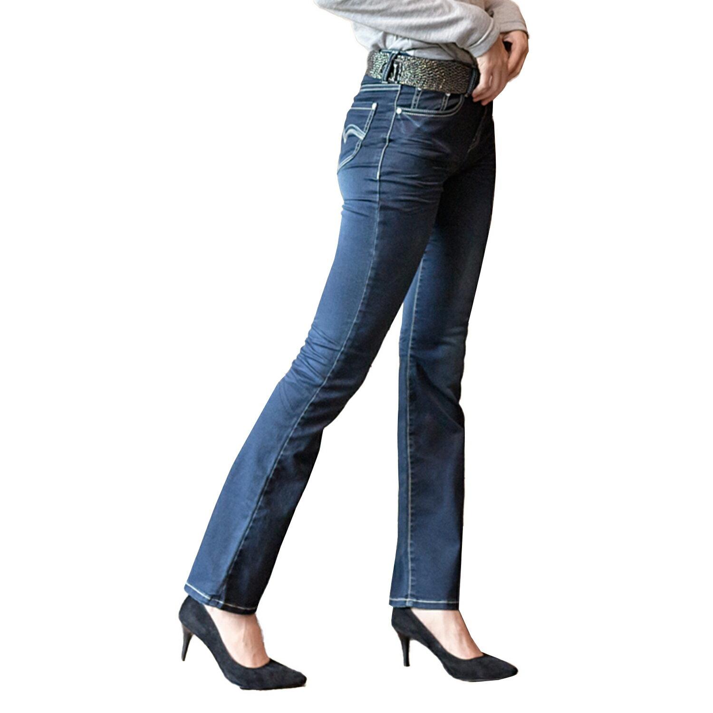 顯瘦--打造窈窕曲線絕對完美激瘦款弧型亮片刷白附織帶中腰喇叭牛仔長褲(藍S-7L)-N162眼圈熊中大尺碼 1