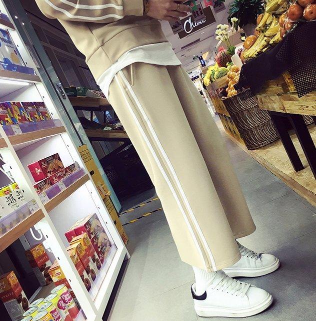 【JP.美日韓】韓國連身潮流套裝質感 寬褲 運動 上癮 街頭 穿搭 套裝 連身 吊帶褲 圓弧下擺 長版假兩件金標nike