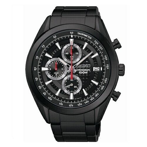SEIKOCS時尚新美學計時腕錶黑鋼x黑面SSB179P1(8T67-00A0SD)