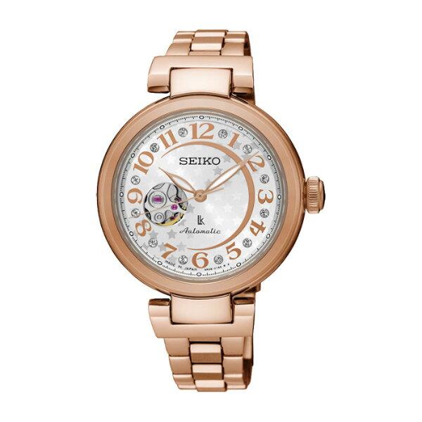 SeikoLukia4R38-01L0K(SSA826J1)林依晨廣告款玫瑰金甜心鏤空機械腕錶白面34mm