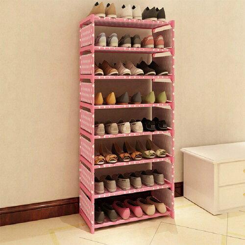 ★免運★免運 點點多彩八層簡易鞋櫃60X120X30cm(銀灰) [大買家] 1