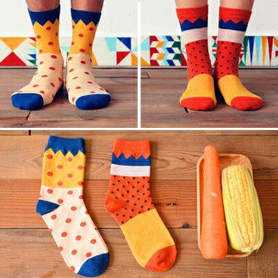 襪子日系可愛點點橘子圖案短襪(一雙入)隨機出貨【O2763】☆雙兒網☆