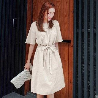 PS Mall韓版氣質收腰綁帶連身裙 連身洋裝【T542】
