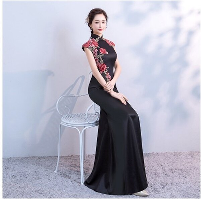天使嫁衣【FS033】黑色中國風剌繡花朵魚尾旗袍款長禮服˙預購客製款