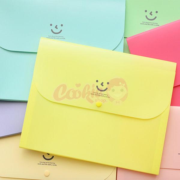 韓國文具糖果色微笑四層文件夾收納夾【庫奇小舖】