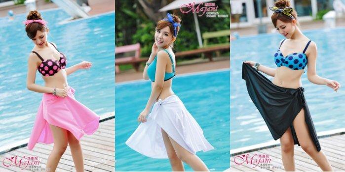 [瑪嘉妮Majani]中大尺碼 泳衣泳裝 -大尺碼 不規則 一片式泳裙 特349 bs-991