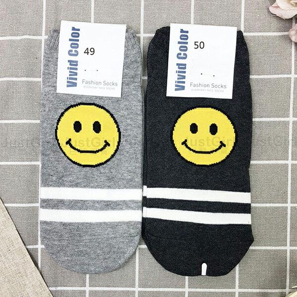 正韓韓國襪襪子彈性襪短襪船型襪Vividcolor微笑小黃臉條紋點點JustGirl