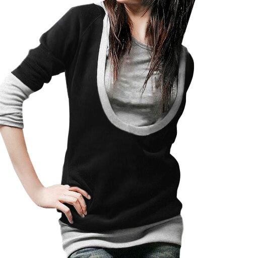 Unique Bargains Women's Pullover 2 Fer Layered Top Black (Size M / 8) 9e4cb43898e72c65b9093c68985df09c