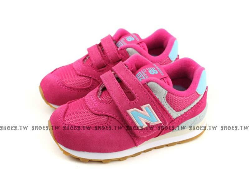 Shoestw【IV574SC】NEW BALANCE NB574 小童鞋 運動鞋 桃紅 水藍N 0