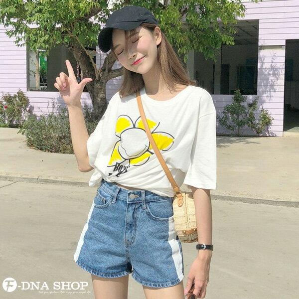 F-DNA★太陽花印圖長版圓領短袖上衣T恤(白-均碼)【ET12700】 1