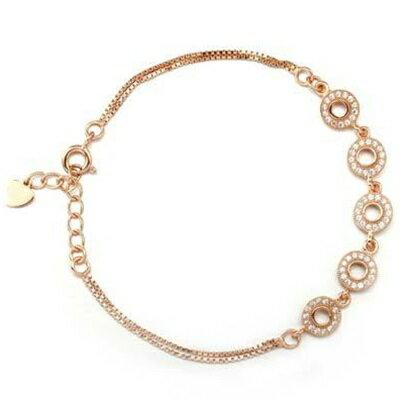 玫瑰金手鍊 鑲鑽純銀手環 ~ 高檔精緻奢華情人節生日 女飾品2色73dl23~ ~~米蘭