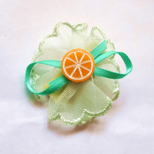 全包布髮夾.嬰兒髮夾AB5001-11淺綠色圓形網紗花朵鴨嘴夾瀏海夾日韓髮飾頭飾王子與公主