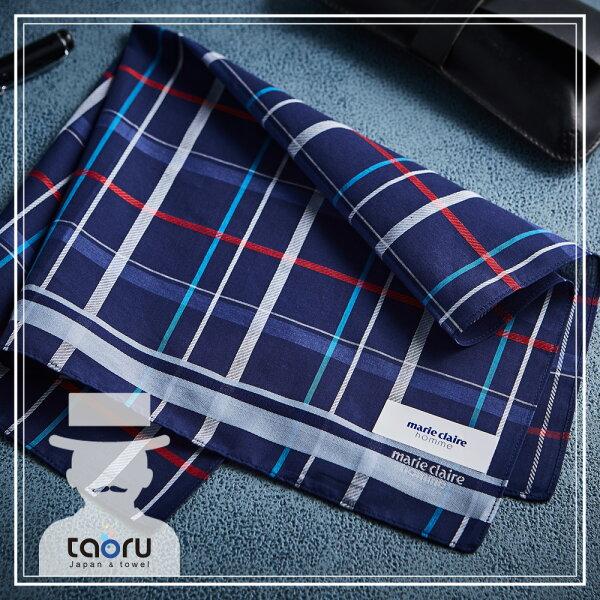 taoru:日本手帕:內斂蘇格蘭_海軍藍47*47cm(手帕男士手帕紳士手帕--taoru日本毛巾)