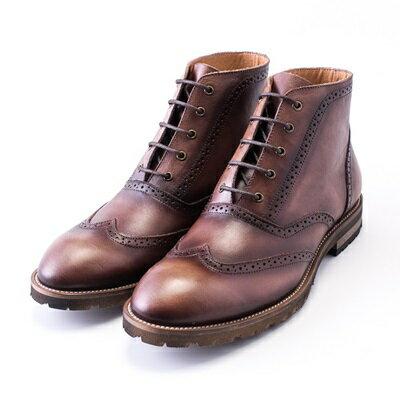 中筒靴真皮繫帶靴子-巴洛克雕花英倫馬丁男靴2色73kk20【獨家進口】【米蘭精品】