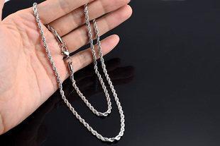 復古麻花項鏈 男款毛衣細鏈 時尚潮款鈦鋼飾品可掛吊墜