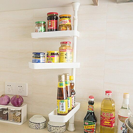 ♚MY COLOR♚廚房三層置物架 頂天立地 衛浴 浴室 整理 收納 伸縮 簡易 落地式 免打孔【W52】