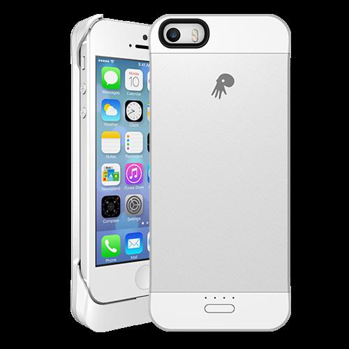 iPhone5 5s~背匣式行動電源~手機充電殼^(銀色^)~Spare系列