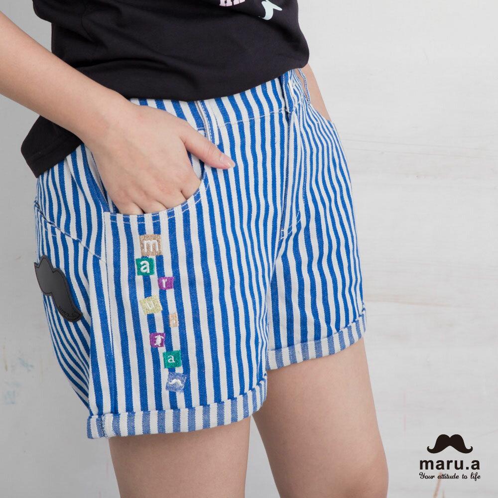 【maru.a】彩色方塊刺繡直條紋短褲(2色)7925112 6