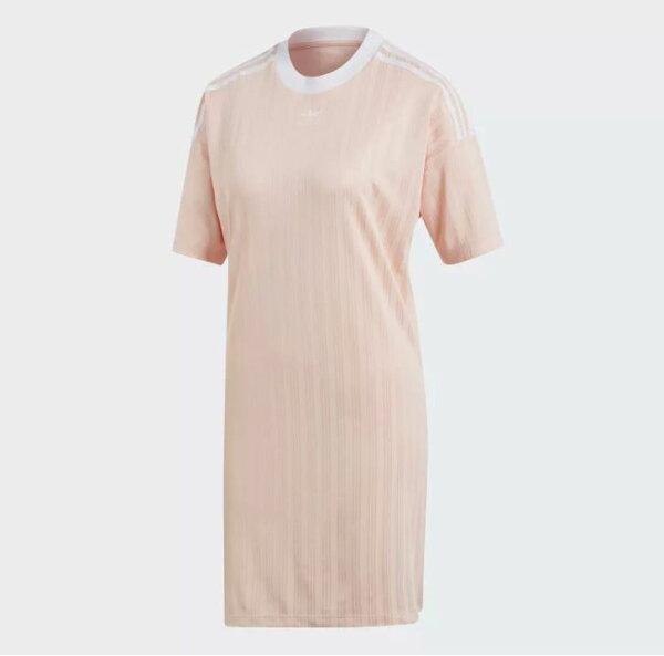 ADIDASTREFOIL女裝短袖長版上衣洋裝休閒連身裙粉【運動世界】CE55889