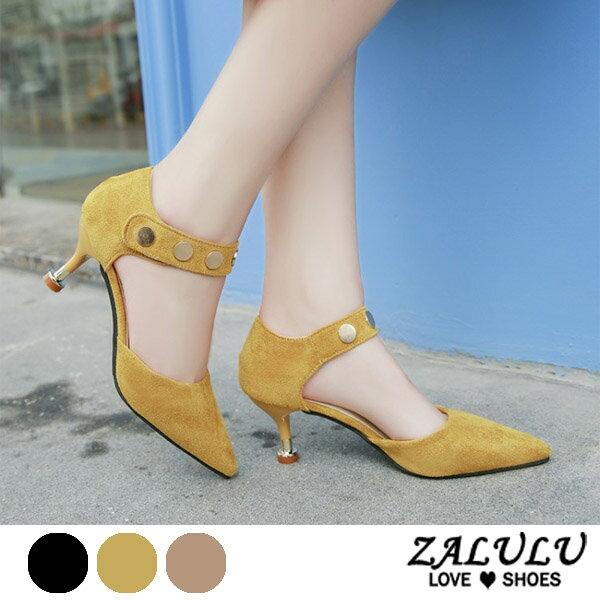 ZALULU愛鞋館7DE074預購小女人尖頭繫腳細高跟女包鞋-黑黃杏-35-39