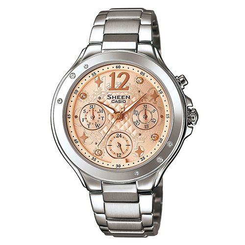 CASIO SHEEN SHE-3032D-9A繽紛時尚腕錶/淡金色37mm