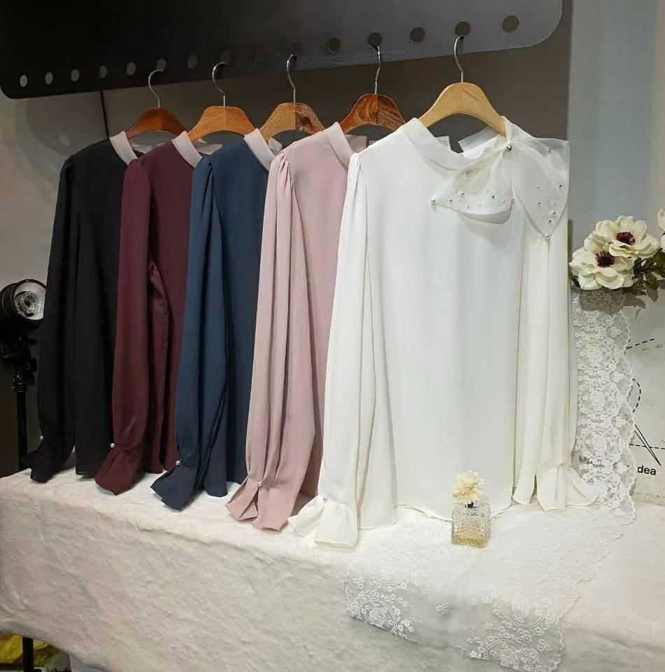【9001】正韓大珍珠蝴蝶結雪紡上衣   (黑 紅 藍 粉 白)
