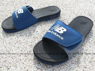 Shoestw【U3006CBD】NEW BALANCE 拖鞋 魔鬼氈 NB大LOGO 藍灰黑 運動拖鞋 男生尺寸