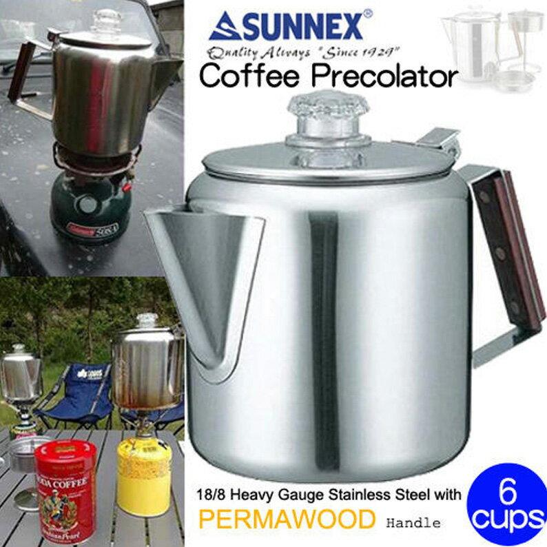 【露營趣】CAMP LAND SUNNEX RV-ST270-6 六杯份不鏽鋼美式咖啡煮壺 (滴煮式) 咖啡壺 茶壺 煮水壺