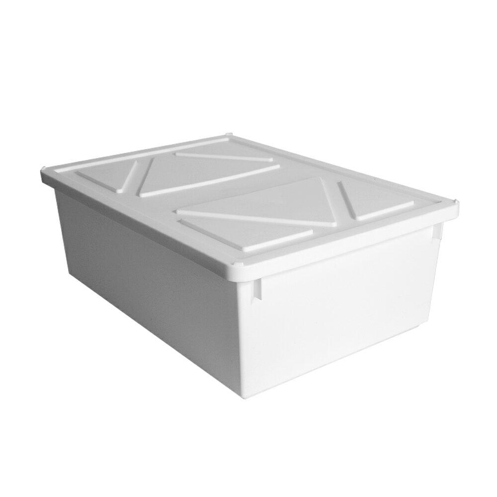 HOUSE【005161-01】純白牛奶附蓋收納盒-直角7號-大低桶(6入) 台灣製造