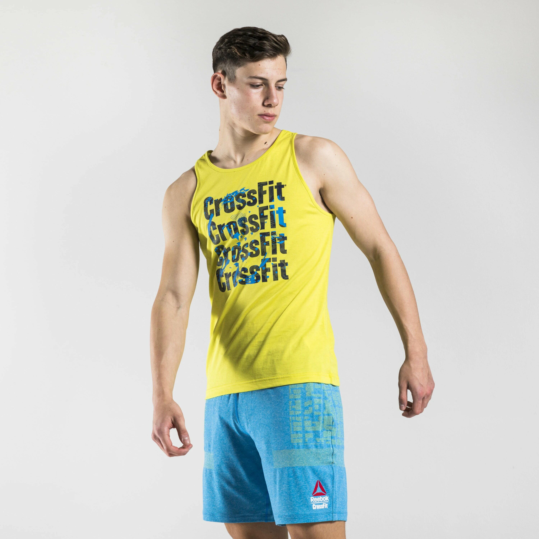 【領券最高折$300】REEBOK CrossFit Games Print Logo 男裝 背心 訓練 休閒 串標 排汗 透氣 黃【運動世界】FS7655