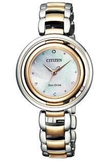 CITIZEN星辰錶EM0666-89DL光動能晶鑽圓環女錶銀+金31mm