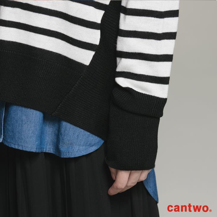 cantwo條紋拼接長袖針織上衣(共二色) 5