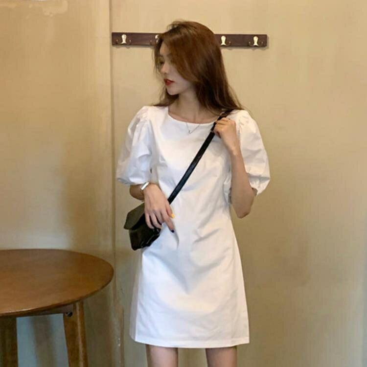 泡泡袖洋裝 泡泡袖白色洋裝女夏季2021新款温柔风法式复古小众超仙气质裙子 korea時尚記