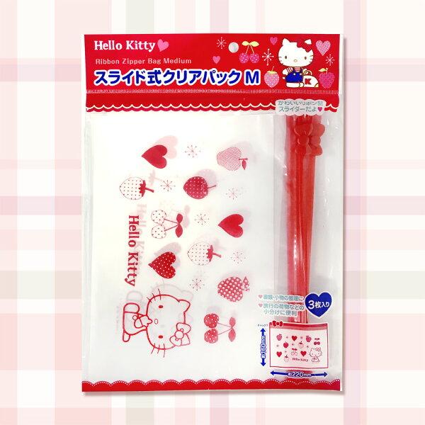 三麗鷗凱蒂貓透明夾鍊袋收納袋夾鍊環保袋袋子3入日本進口正版576383