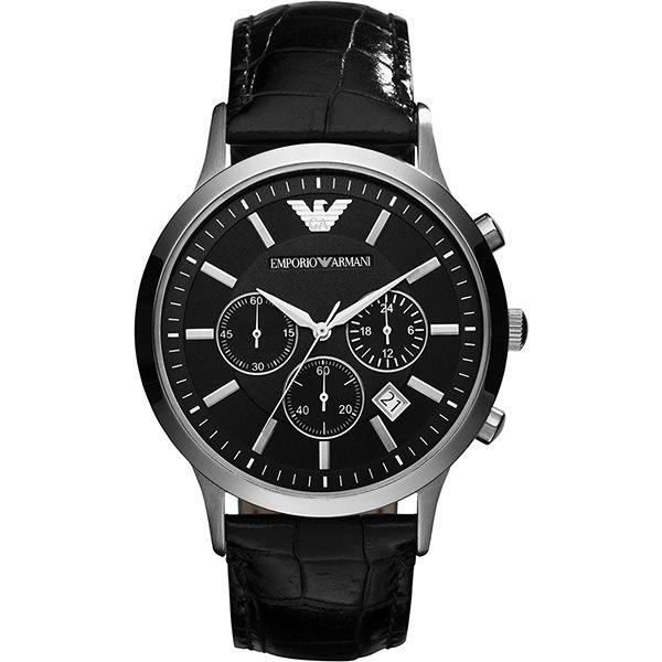 EMPORIO ARMANI/AR2447義式型男經典計時腕錶/黑面44mm