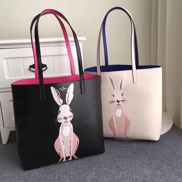 Outlet代購 歐美 kate spade KS tote兔子印花毛球托特包 外出包 購物袋 肩背包 單肩包 雙色