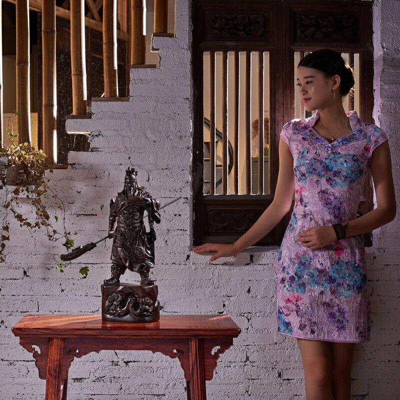 黑檀木雕關公像擺件大號橫刀大號1米武財神爺紅木工藝品送禮鎮宅1入
