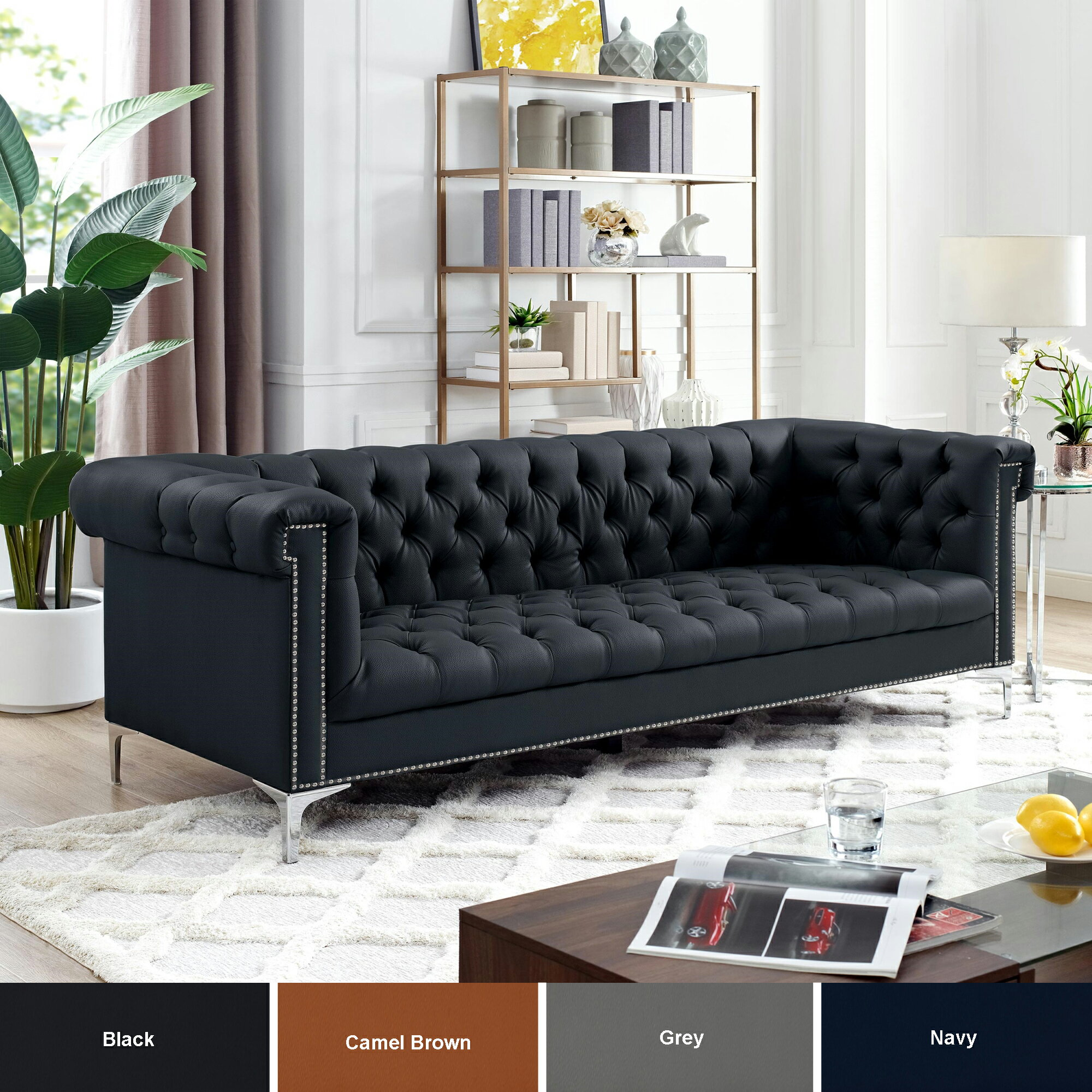 HomeSpot: Warwick Leather Chesterfield Sofa - Silver Metal Legs ...