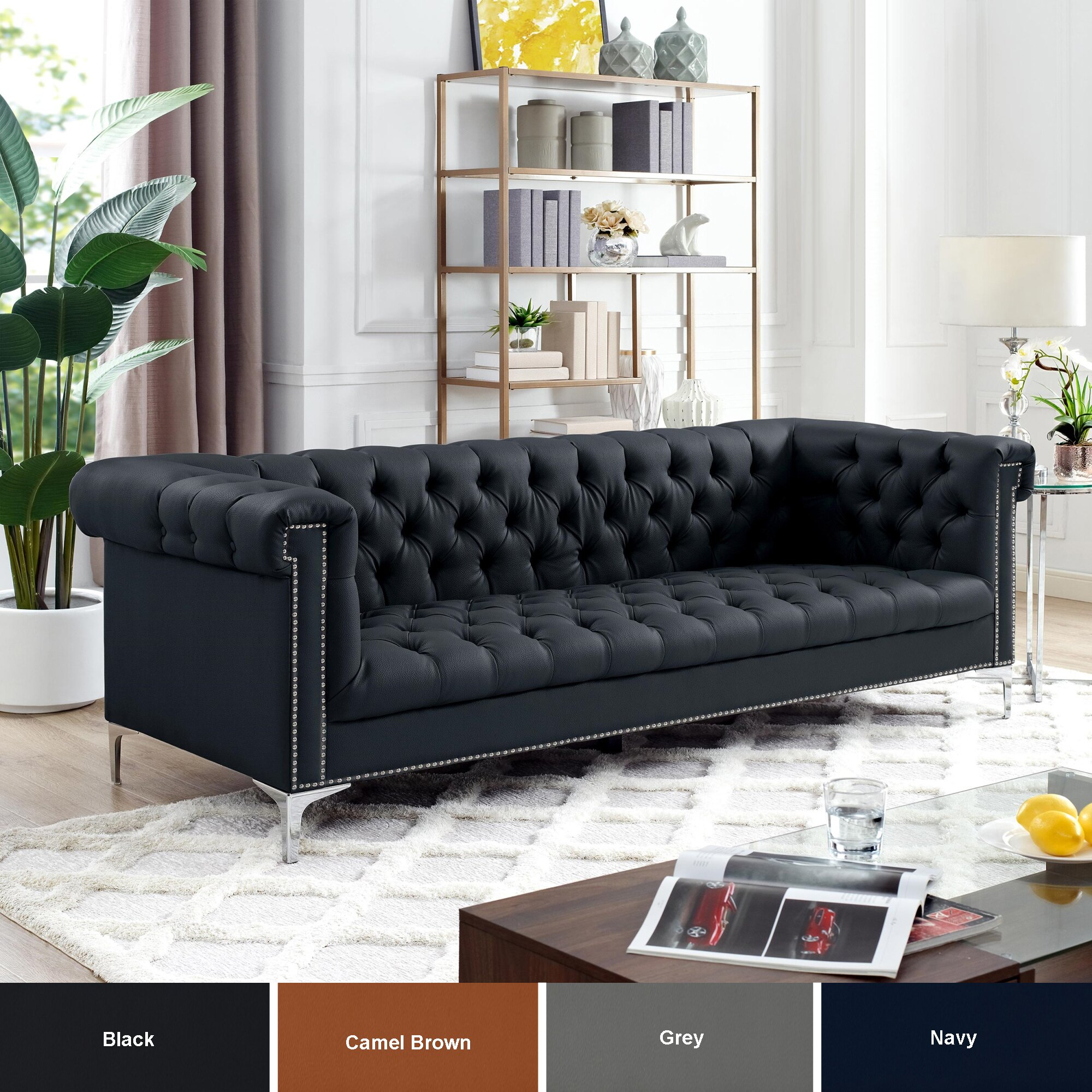 Warwick Leather Chesterfield Sofa - Silver Metal Legs | Button Tufted |  Nailhead Trim | Modern | Livingroom | Inspired Home