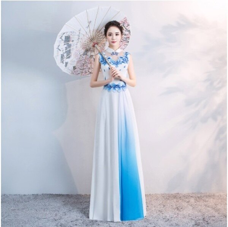 天使嫁衣【FS055】白底藍花立領中式復古風格無袖長禮服˙預購客製款