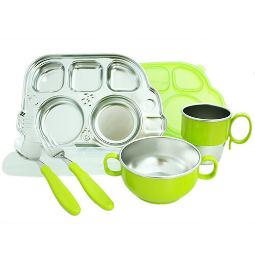 美國 Innobaby Stainless Mealtime Set 不鏽鋼餐具禮盒七件組 不銹鋼【綠色】