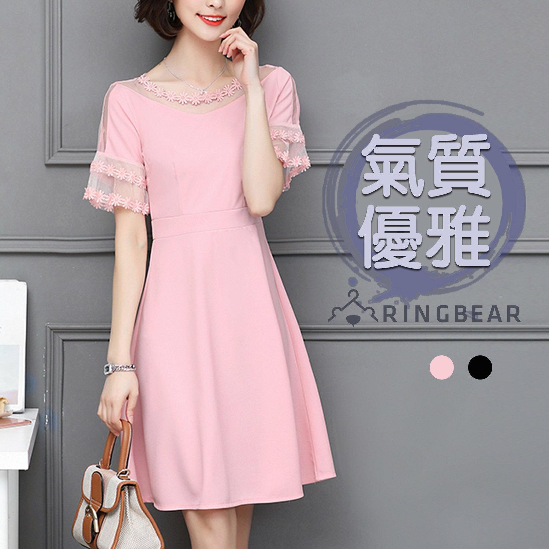 連衣裙--優雅浪漫網紗蕾絲露肩荷葉袖A字修身雪紡圓領短袖洋裝(黑.粉M-2L)-D515眼圈熊中大尺碼 0