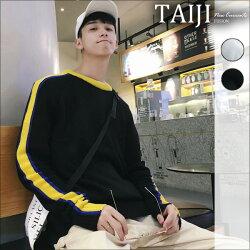 針織毛衣‧袖臂雙色線條設計圓領針織衫毛衣‧二色【NTJM8056】-TAIJI