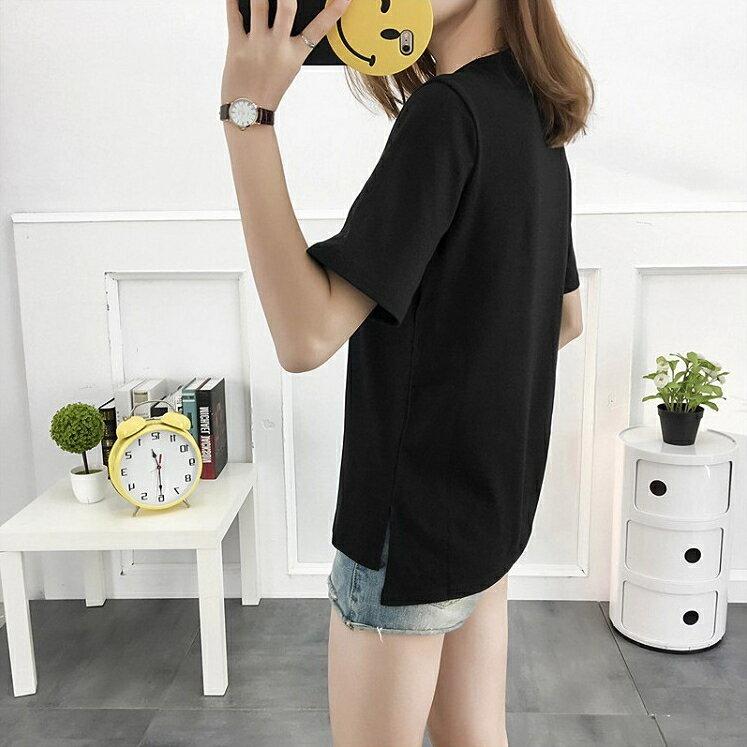 【V2469】shiny藍格子-休閒夏日.刺繡圖樣字母圓領短袖上衣 2