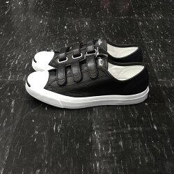 Converse Jack Purcell Leather 3V 魔鬼氈 開口笑 基本款 黑色 黑白 皮革 荔枝皮 低筒 經典款 160207C